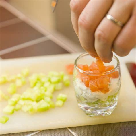 recette verrine saumon concombre  fromage blanc