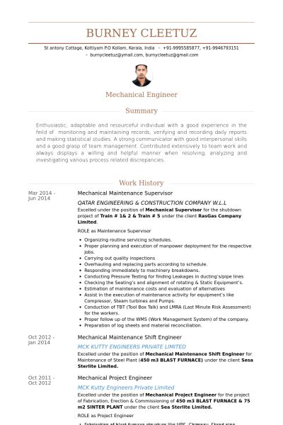 Maintenance Supervisor Cv Resume by Maintenance Engineer Resume India Krida Info