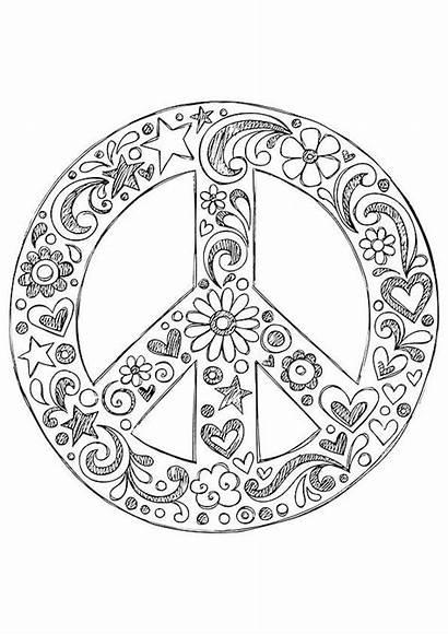 Peace Coloring Hippie Printable Simple Zentangle Hippies