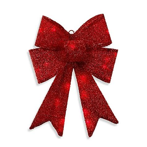 17 inch battery operated led lighted red bow bed bath