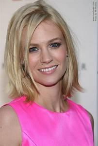 January Jones Medium Length Blonde Hairstyle With A Flip