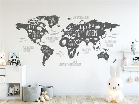 Wandtattoo Kinderzimmer Weltkarte by Wandtattoo Weltkarte F 252 R Kinder Mit Tieren Wandtattoo De