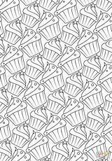 Coloring Pattern Pages Cupcakes Printable Cake Cup sketch template