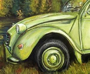 Peinture Chassis Voiture : peinture 2 cv vert pomme toile acrylique r aliste artiste peintre virginie trabaud ~ Melissatoandfro.com Idées de Décoration