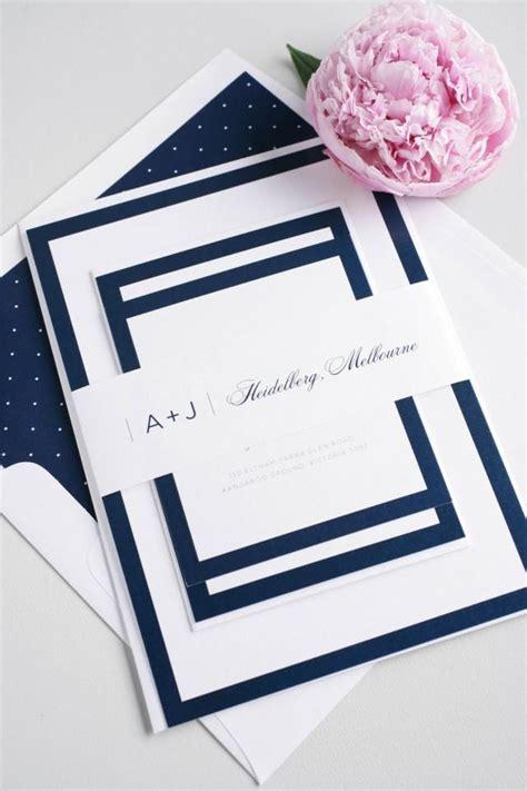 Navy Wedding Invitation Borders Simple Wedding Invite