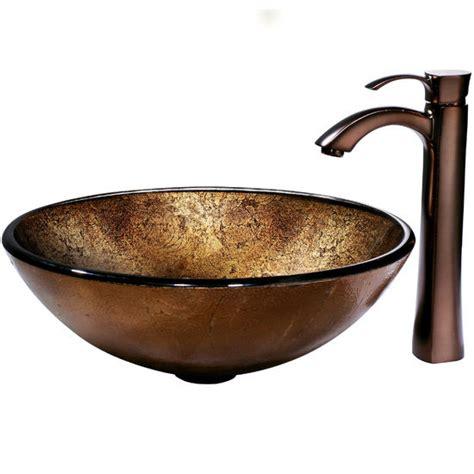 vigo liquid copper glass vessel sink and bronze faucet rubbed bronze finish measuring 16 1