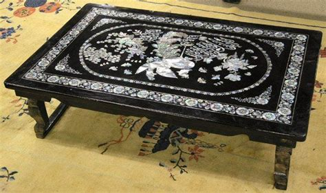 korean mother  pearl inlay  table black lacquer