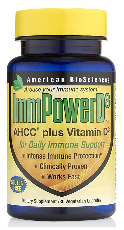 immpower d3 ahcc plus vitamin d3 30 vege caps by american