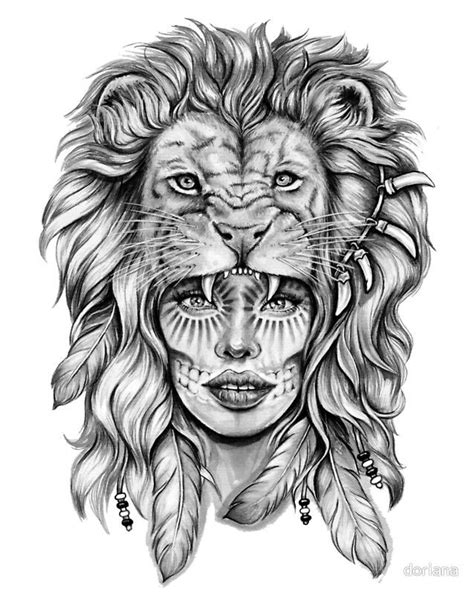 Buy this artwork on apparel, stickers, phone cases, and more.   Tattoos, Girl face tattoo, Lion