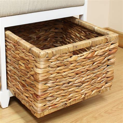 storage bench cushion seat seagrass wicker baskets