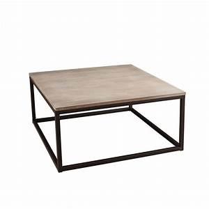 Table Salon Carrée : table basse industrielle carr e m tal et bois 90x90x44 lali pier import ~ Teatrodelosmanantiales.com Idées de Décoration