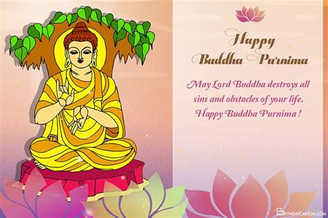 Vesak day / buddha's birthday is on the 146th day of 2021. Happy Buddha Purnima Wishes Card for 2021