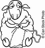Knitting Sheep Coloring Clip Clipart Illustration Cartoon Farm Vector Funny Yarn Animal Knit Drawing Drawings Wool Fotosearch Silhouette Canstockphoto Royalty sketch template