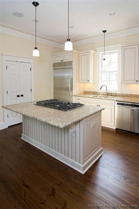 White Kitchen With Island Cooktop