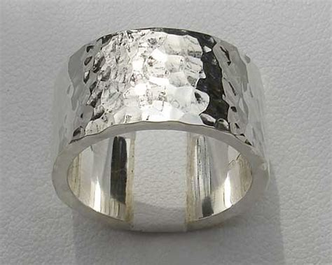flat profile hammered silver wedding ring love2have in the uk