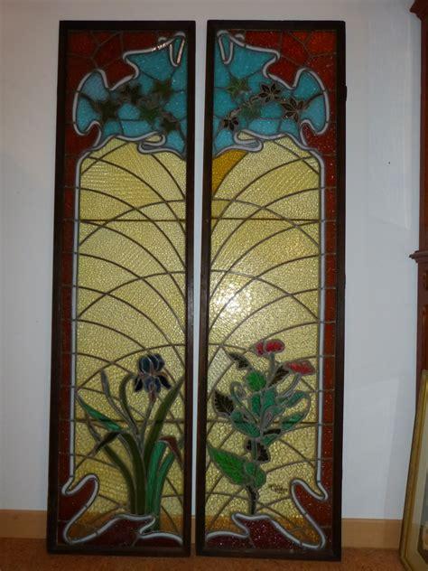 jacques grueber paire de vitraux art nouveau ecole de nancy