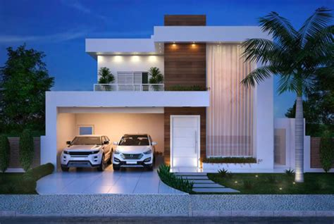 modern double story house plan  clean facade acha homes