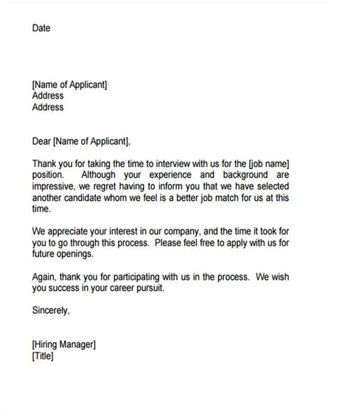 Applicant Rejection Letter Template by Awesome Rejection Email For Time To Regift