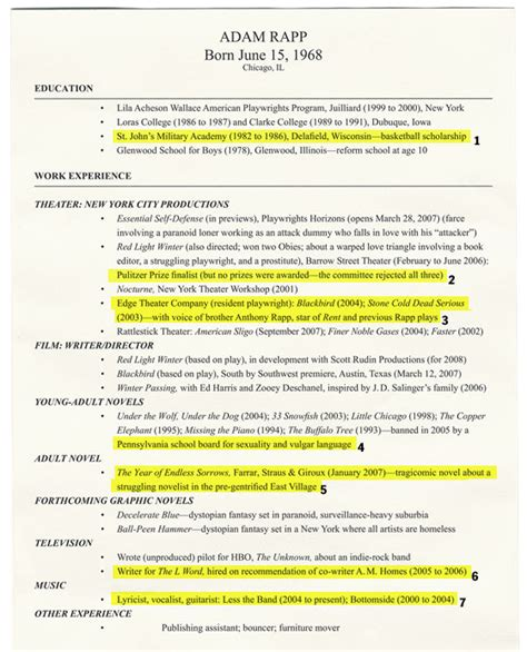 Resume Features by Playwright Adam Rapp Annotates His Resume New York Magazine