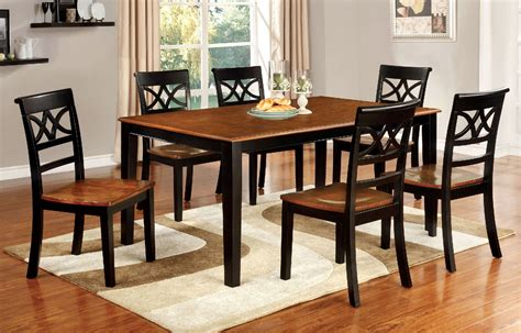 Torrington Country Style 7pcs Black & Cherry Dining Table Set