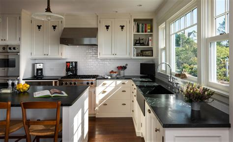 stone house beach style kitchen portland maine  wright ryan homes