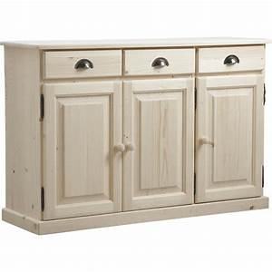 Bahut Bois Blanc : bahut en bois brut 3 portes 3 tiroirs ncm2650 aubry gaspard ~ Teatrodelosmanantiales.com Idées de Décoration