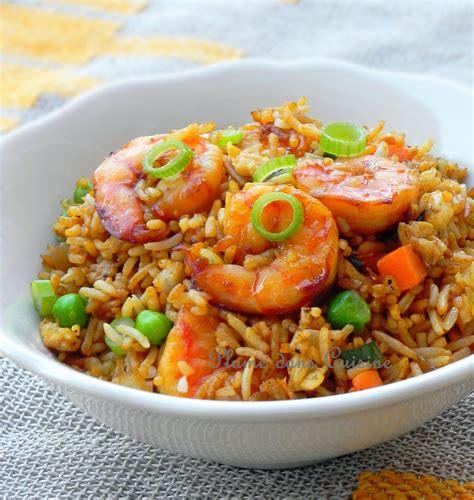 recette de cuisine avec des l馮umes riz sauté aux crevettes une plume dans la cuisine