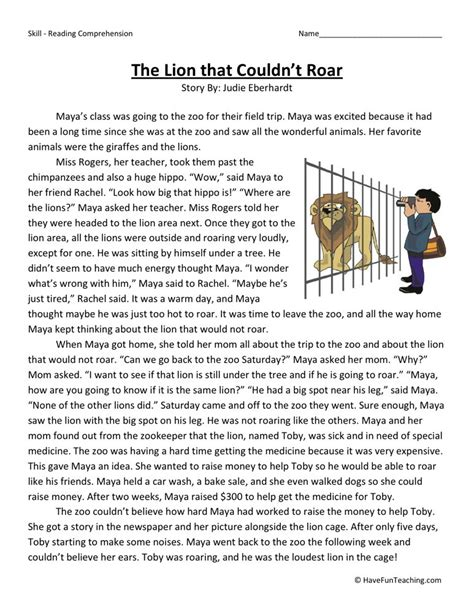 reading comprehension worksheet the that couldn t roar