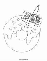 Donut Coloring Unicorn Printable Sprinkles sketch template