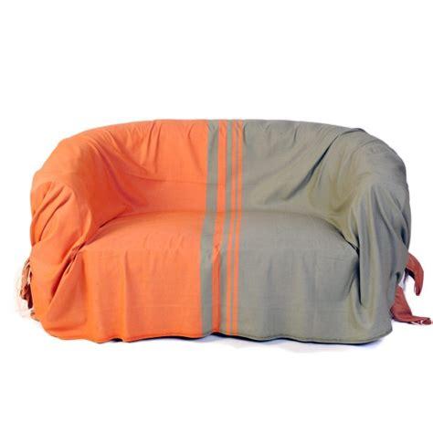 jetee canape jeté de canapé en coton rectangulaire orange et vert