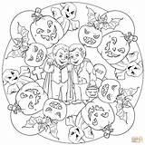 Mandala Halloween Colorare Gatto Disegni Ausmalbilder Animali Coloring Drakula Frankenstein Ghost sketch template