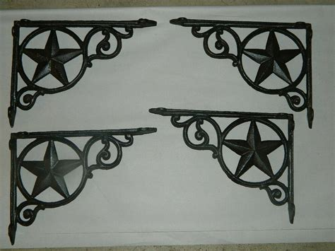 Set Rustic Western Star Texas Cast Iron Shelf