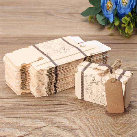 10 100pcs wedding favor suitcase paper kraft candy boxes