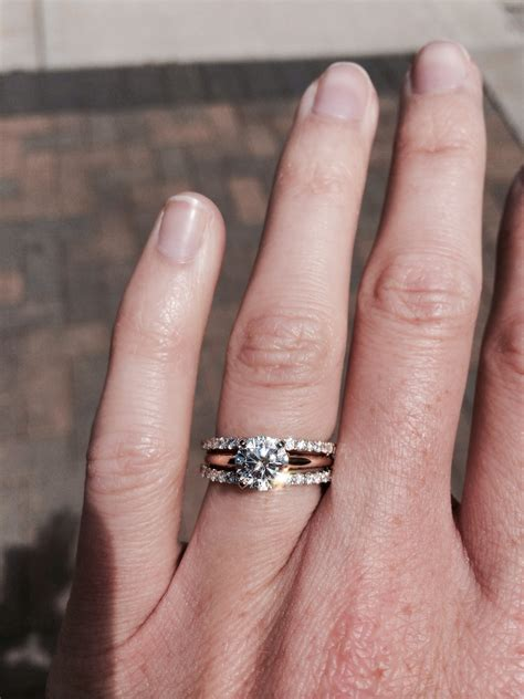 SHOW ME your Solitaire Ring w/ Unique Wedding Band   Weddingbee