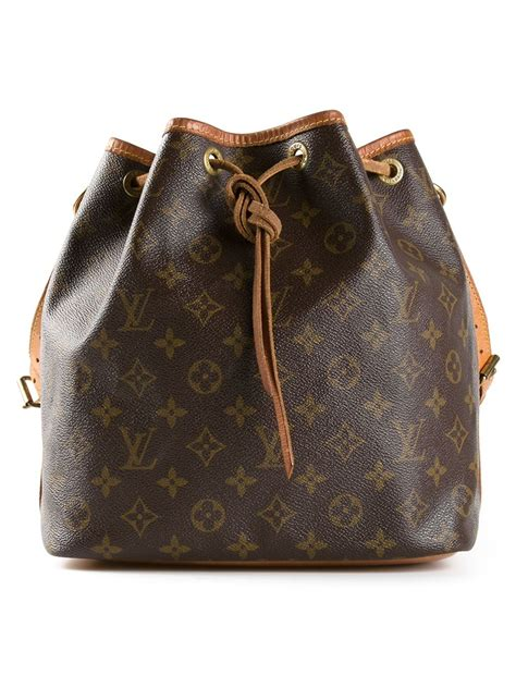 louis vuitton monogram petite bucket bag  brown lyst