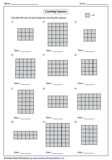 image result for area worksheet 3rd grade moza
