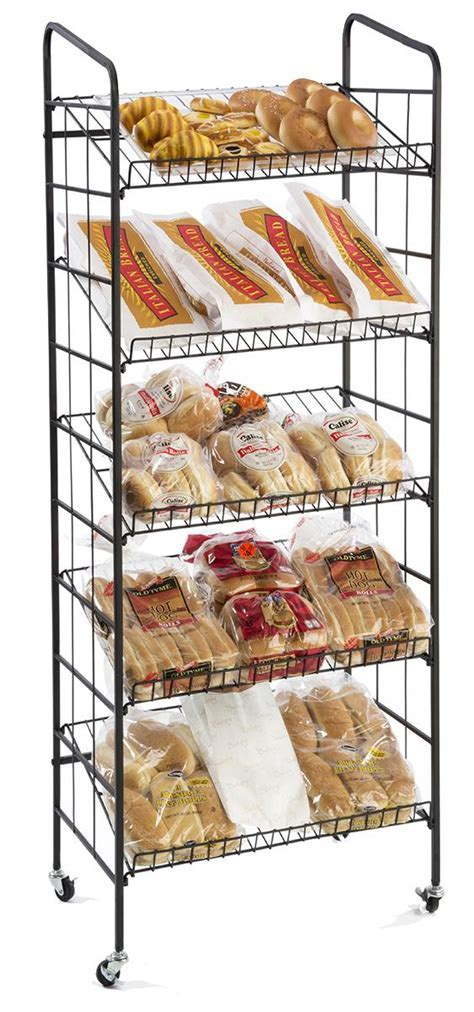 Wire Bakers Rack   5 Gravity Shelves & Locking Casters