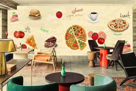 Background cartoon coffee shop illustrations & vectors. Custom retro wallpaper,Pizza Coffee Cake,3D cartoon murals ...