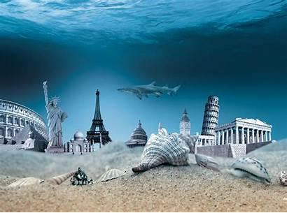 Underwater Manipulation Statue Liberty Sea Sand Seashells