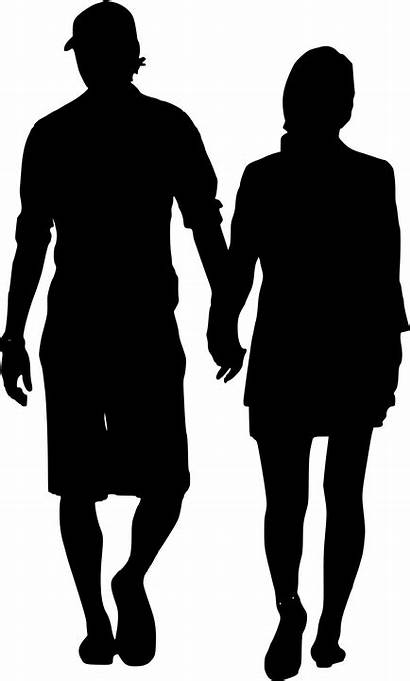 Silhouette Walking Couple Holding Female Male Hands