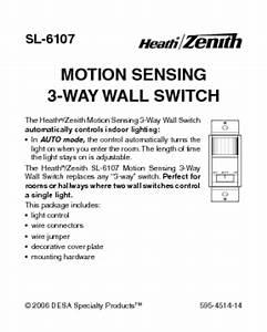Motion Sensing 3-way Wall Switch Sl-6107 Manuals