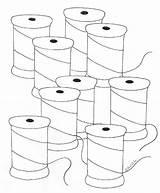 Thread Spools Coloring Folk Weefolkart Pond sketch template