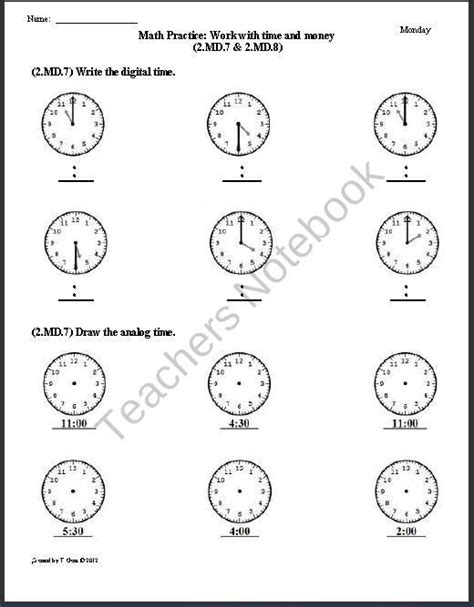 2 md 7 2 md 8 time money 2nd grade common core math
