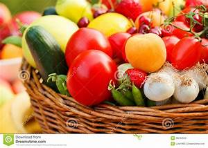 Basket Full Of Organic Fruit And Vegetables Stock Images ...