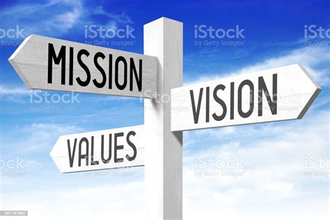 mission vision values signpost stock photo  pictures