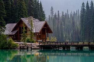 Wallpaper Canada Emerald Lake Nature Spruce Bridges Parks ...