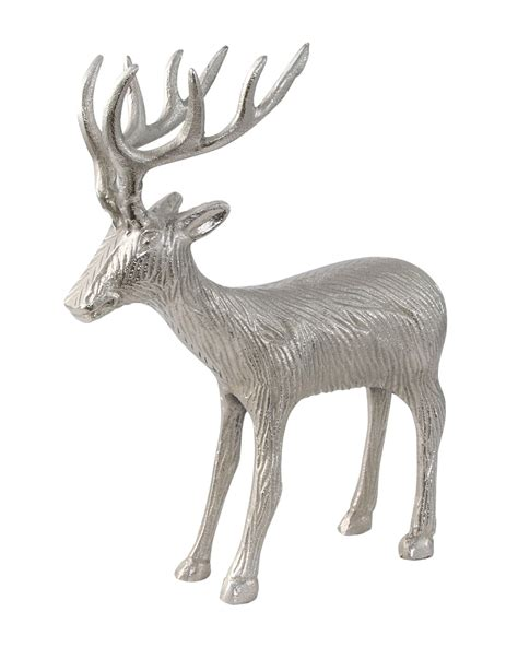 aluminium silver reindeer ornament christmas decoration homescapes