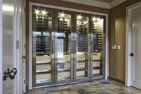 Refrigerated Wine Cabinet Furniture by Vin De Garde Custom Stainless Steel Wine Cabinet Modern