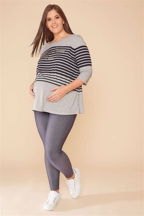 Bump It Up Maternity Grey And Navy Stripe Dreams Come True