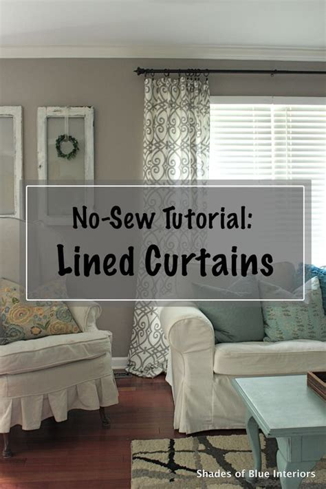 no sew tutorial lined curtains via shadesofblueint